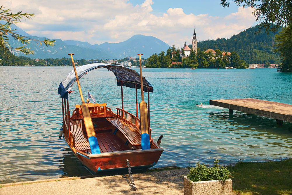 Pletna boat at the shore of the lake Bled, Slovenia